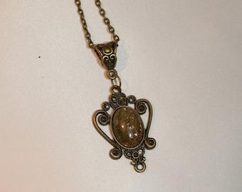 Art nouveau necklace and natural citrine