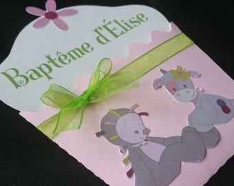birth or baptism cupcake invitation