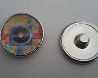 abstract glass cabochon snap music
