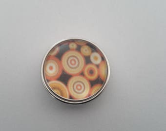 glass cabochon snap button abstract orange circles and black