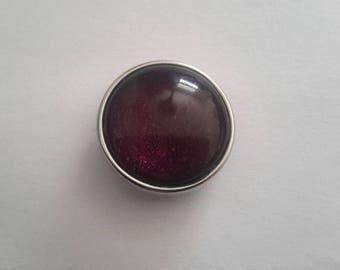 glitter snap micro plum glass cabochon