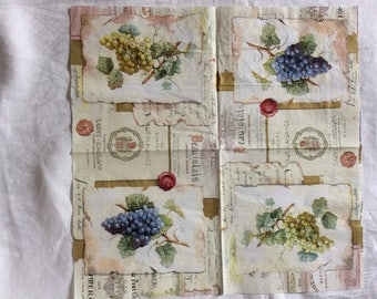 Set of 2 bunches of grapes 33x33cm napkins