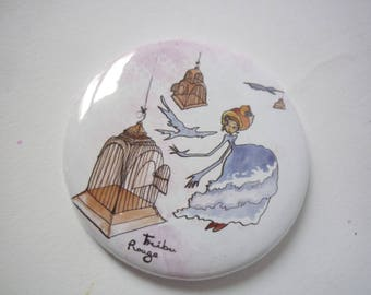 Round Pocket mirror illustrated cages