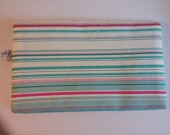 Cotton fabric checkbook striped tone turquoise