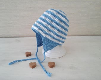 Baby Beanie handmade in blue and white stripes with ear muffs