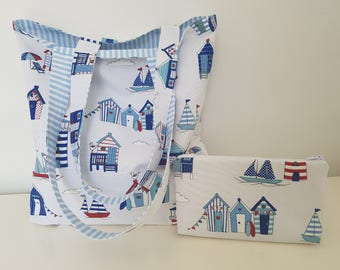 Cotton tote bag and its matching pouch
