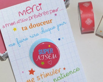 SCHOOL Badge pink card and card