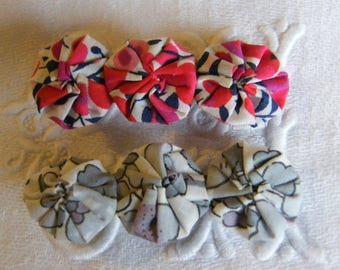 3 crocodile LIBERTY rosette Bobby pins (Capel, Mitsi, Betsy, Wiltshire...)