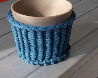 Flower pot in circular knitting jersey Ribbon