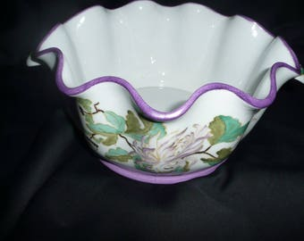 Hand painted porcelain planter: yellow and purple stylized chrysanthemums