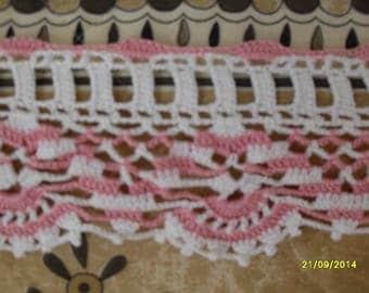 handmade crochet pink and white border