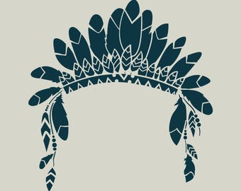 Indian stencil. Indian headdress stencil. Stenciled feathers (ref 463)