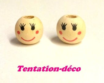 Set of 5 wooden beads - painted face - 13 mm