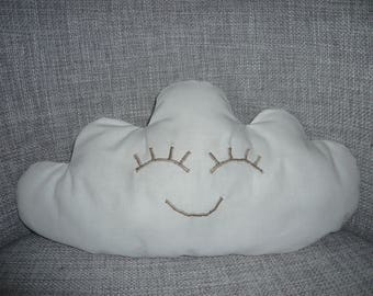 cushion cloud and eyes, white and taupe