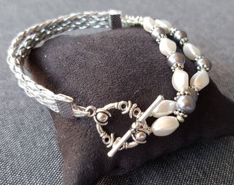 Grey white silver lace and stones bracelet