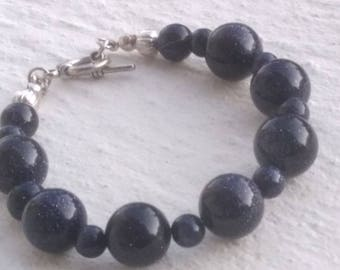 Goldstone or blue sun stone bracelet
