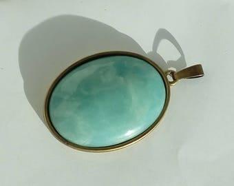 Bronze pendant: Amazonite