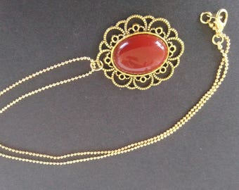 Scalloped red passion pendant