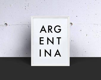 ARGENTINA Digital Print, Digital Download, Printable Art, Wall Art, Word Art, Instant Download, Kitchen Decor, Modern Art, Minimalist