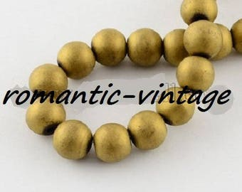 Hematite frosted; 30 color frosted Hematite beads 6mm round gold