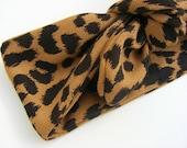 Bandeau / headband jersey épais léopard à nouer