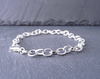 Bracelet 1 mesh oval 6 x 7 mm and clasp - Silver (BR0104)