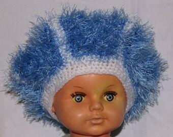 Blue and white children beret