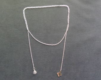 chic Lariat Necklace with stone and charm