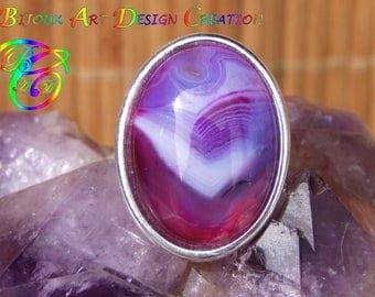 Silver plated Adjustable ring Cabochon oval semi-precious Agate purple