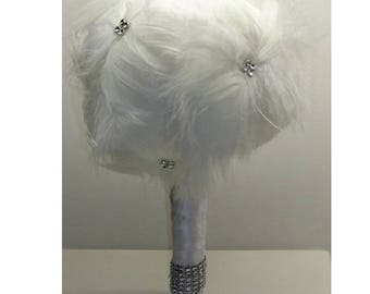 feathers in feathers for wedding theme bridal bouquet
