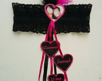 Wedding garter customized with your photo in black and Fuchsia (or other)
