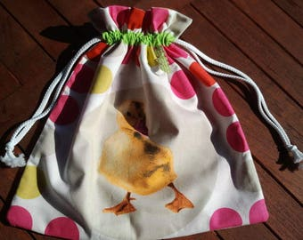 """bag has blanket pattern """"the ugly duckling toy bag, lunch bag"""