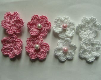 Flower appliques with pearls set of 8 cotton crochet
