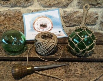 Navy decoration - ball - fishing floats - puffed - knots - hemp - green glass