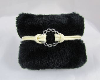 "Bracelet waxed cotton cord ecru ""Round braid"" with adjustable wrist"