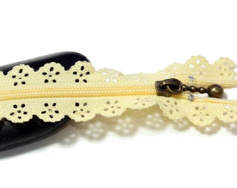 ♥ Yellow set of 2 zippers zip lace 20 cm ♥