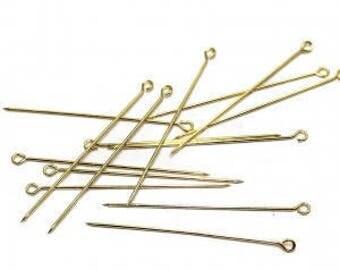 Set of 150 50mm gold eye pins