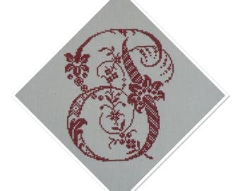 MONOGRAM LETTER - P - EMBROIDERED CROSS STITCH IN RED METIS FRENCH WIRE