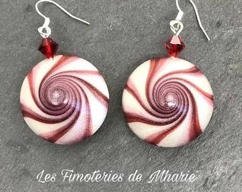 Swirl polymer clay earrings