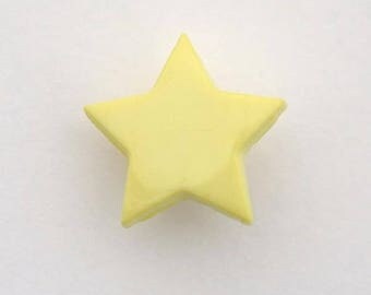 Buttons 6 x 14 mm yellow star - 001655