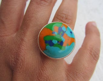 ring cabochon round polymer clay marbled silver backed adjustable, turquoise, orange, Royal Blue and green, dyed bright