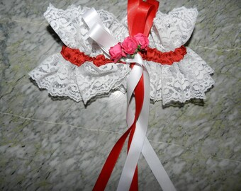 Red and white lace wedding garter vintage