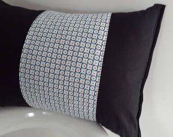 Cushion cover 45 x 30 cm black and blue