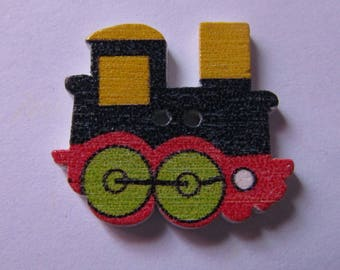 various colors wooden button scrapbooking 22mmx25mm train