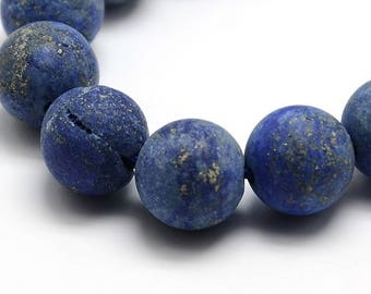 5 round beads of lapis lazuli frosted 10 mm, hole: 1 mm