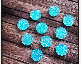 set of 10 acrylic 10 mm turquoise cabochons