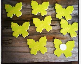 set of 8 wooden 30mm yellow and green butterflies