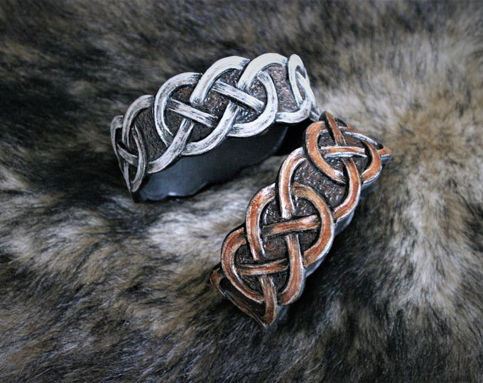 Celtic bracelet men women mixed entrelac chain Brown or grey custom tooled leather