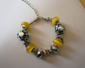 Pandor a style bracelet fashion blue and yellow