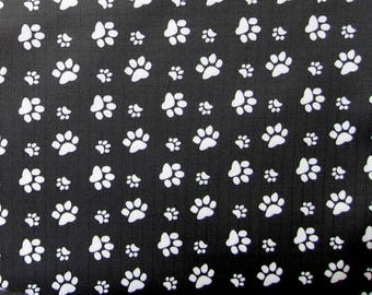 "Black PVC coated fabric * waterproof * pattern ""Paws"""